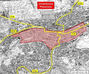 Pforzheim Karte.Umwelt Plakette Pforzheim